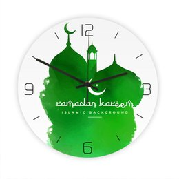 pattern batteries Australia - 1pc Wall Clock Acrylic Decorative Hanging Muslim Mosque Pattern Round Clock For Without Battery Home Store Office