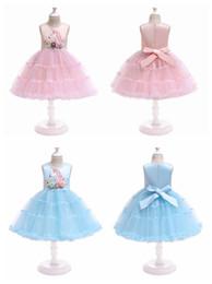 Satin lolita dreSS online shopping - Children unicorn dress with flower cake layer sleeveless baby girl tutu skirts kids costume cosplay dress for halloween christmas