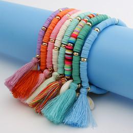 $enCountryForm.capitalKeyWord Australia - 2019 new hot sale bohemian rainbow jewelry colorful resin bracelet seashell tassel bracelets for women