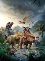 Large dinosaur waLL stickers online shopping - Walking Dinosaurs Art Silk Poster x36inch x43inch