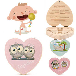 Baby Shoes Red White Australia - LOVE Heart Dutch Portugal  English  Italy France Kids Tooth Box Owl Elephant Color Paint Baby Save Milk Teeth Wood Storage