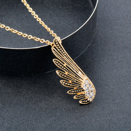 white gold angel wings necklace Australia - Vintage Angel Wing Pendant Necklace For Women Antique Gold Silver Color Chain Custom Jewelry Xl697 SSH