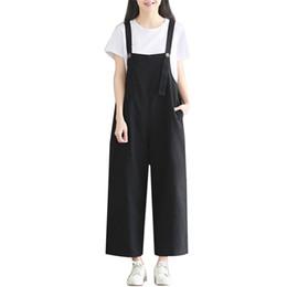 fdb54ffcb60f 2019 summer new women s overalls simple fashion black jumpsuits cotton linen  bib female loose fit students wide leg pants woman