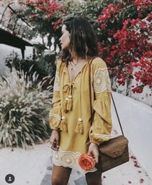 $enCountryForm.capitalKeyWord NZ - 2019 Spring dress for women long sleeve thin style Embroidery yellow colors Women's Vintage Tassel Embroidered Dress