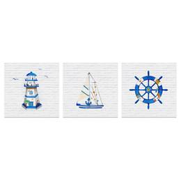 $enCountryForm.capitalKeyWord Australia - Unframed Wall Art for Bathroom Blue Lighthouse Sailboat Captain's Wheel Anchor Painting Picture Navigation Canvas Prints