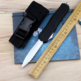 gears blocks NZ - New Edge Saw Blade Tactical Knife A07 Double Action Front Block Knife 440C Wire EDC Gear Knife With Sheath