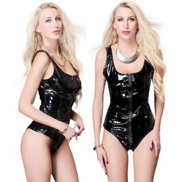 women shiny jumpsuit NZ - Summer Hot Black Shiny PU Leather Bodysuit Sleeveless Catsuit Bodycon Open Crotch Zipper jumpsuit Women