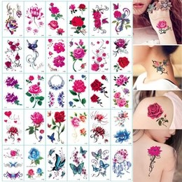 fake eyes stickers UK - Beauty & Health 30Sheet Flower Body Art Temporary Butterfly Floral Reindeer Letter Fake Tattoos Back Tattoos Stickers for Women Girls