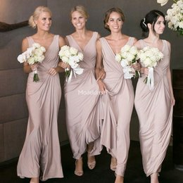 $enCountryForm.capitalKeyWord NZ - 2019 Stylish Long Bridesmaid Dresses V-Neck Backless Open Back Sweep Train A Line Soft Wedding Guest Dresses Solid Maid Of Honor Gown Custom