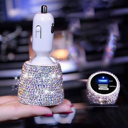 phone holder car cigarette lighter charger Australia - Universial Rhinestones Car USB Fast Charger Cigarette Lighter Diamond Crystal GPS Car Phone Holder Vent Mount Navigation Bracket