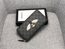Pvc Long Zipper NZ - High quality 2019 newest famous brand bees fashion men women single zipper cheap luxury designer leather wallet lady ladies long purse