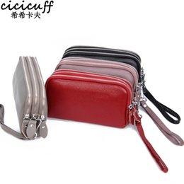 $enCountryForm.capitalKeyWord Australia - CICICUFF Genuine Leather Women Wallet Large Capacity Three Layers Zipper Cellphone Pouch Coin Purse Female Wrist Bag Clutch New #93005