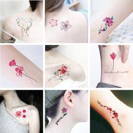 364ab92fe Glaryyears Colored Flower Tattoo Body Temporary Tattoo Peony Makeup Arm  Hand Leg Art Sticker Green Leaf DIY