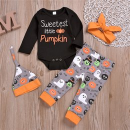 $enCountryForm.capitalKeyWord Australia - Halloween kids clothes Outfits halloween baby kids Pumpkin Printed Letter tops jumpsuits+trousers+hat+hair band 4 pieces set ZJY659