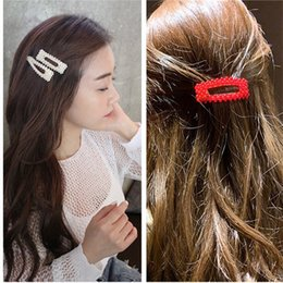 $enCountryForm.capitalKeyWord Australia - 2019 NEW Red White Pearl Hair Clip for Women Elegant Korean Design Snap Barrette Stick Hairpin Hair Styling Accessories dropship