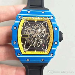 $enCountryForm.capitalKeyWord Australia - Top Swiss KV 35-01 Mens Watch Blue Forged Carbon Yellow & Skeleton Dial Automatic 28800bph Sapphire Black Rubber Strap Oversize Wristwatch
