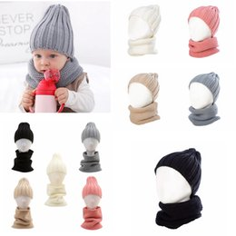 warm scarf set 2019 - 5styles Knitted Beanie Kids Winter Warm Scarf Set Autumn Cap Wool Solid Boy Girls Hat Children Hat Scarf Collar 2pcs Set