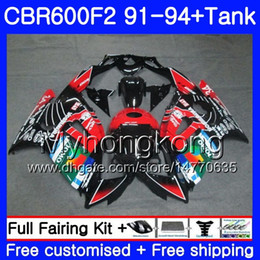 Honda Cbr F2 Red Fairings Australia - Body+Tank For HONDA CBR 600F2 CBR600FS CBR600F2 JOMO Red blk 91 92 93 94 288HM.27 CBR 600 F2 FS CBR600 F2 1991 1992 1993 1994 Fairing kit