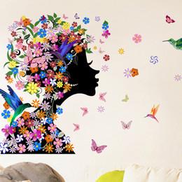 flower fairy girl wall sticker 2019 - 46x58cm 2016 Brand Butterflies Flower Fairy Girl Wall Sticker For Home Decorations Vinyl Decal Mural Art Kids Bedroom wh