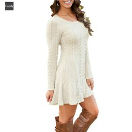 mini long loose sweater dresses Australia - Women Dresses Causal Plus Size S Autumn 5Xl Short Sweater Dress Loose Autumn Winter White Long Sleeve Female Knitted Sweaters