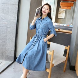 0ac46efb86d62d Women s loose long-sleeved Denim Dress Long Denim Shirt Dress 2018 spring  Single-breasted Jeans Cardigan with Tie Belt