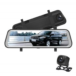 "dual car dvr rear front UK - 10"" touch screen streaming video car DVR vehicle registrator mirror rearview car dash camera FHD 1080P 2Ch front 170° rear 145° wide view"