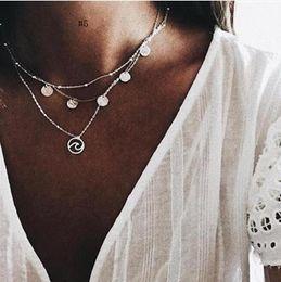 $enCountryForm.capitalKeyWord Australia - New Silver Gold Color Multi Layer Chain Choker Statement Necklaces For Women Bohemian Shell Zircon Pendant Necklace