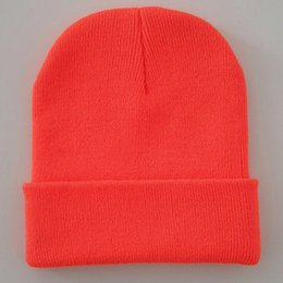 neon beanies wholesale Canada - Bright Solid Acrylic Knitted Hats Women Mens Winter Plain Beanies Cap Orange Brown Hats & Caps Hats, Scarves & Gloves Black Neon Yellow Neon