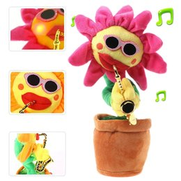 $enCountryForm.capitalKeyWord Australia - Sunflower Plush Doll Music Toys Funny Singing and Dancing Enchanting Sunflower with Guitar Potted Toy for Kids Gift (Sachs)
