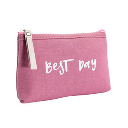 best day makeup Australia - Travel Cosmetic Bags Women Canvas Multifunction Zipper Make Up Bags Toiletries Organizer Makeup Cases Best Day Letters Printed