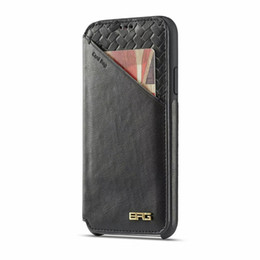 Chinese  UltraThin Magnetic Braided Card Bag Flip Leather Wallet Pouch Clutch Stand Holster Protector High-end Phone Shell for iPhone XS Max XR 6s 15 manufacturers