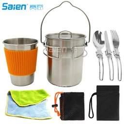 $enCountryForm.capitalKeyWord Australia - Stainless Camping Backpacking Cup Pot Cook Set with Vented Lid, Folding Handles,Great for Backpacking, Camping, Survival