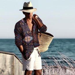 $enCountryForm.capitalKeyWord Australia - Mens Vintage Ethnic Printed Turn Down Collar Long Sleeve Loose Casual Shirts