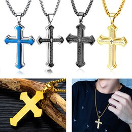 scripture charms wholesale UK - Vintage Scripture Double-layer Cross Pendant Necklace Stainless Steel Religion Jewelry Men Charm Statement Necklaces Engagement Wedding Gift