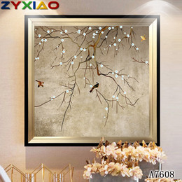 $enCountryForm.capitalKeyWord Australia - ZYXIAO flower Plum blossom bird Print Wall Oil Painting Art picture print on canvas No Frame for bedroom living home mosaic decor gift A7608
