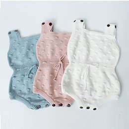 Discount pink overalls for girls - 2018 Spring New Baby Knitting Romper Cute Warm Jumpsuit for Newborn Baby Boy Clothes Cotton Kids Rompers Girls Infant Ov