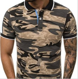 T Shirt Digital Printing Sport Australia - 2019 men's lapel T-shirt short-sleeved 3D European and American digital printing camouflage summer European code fashion popular sports shor