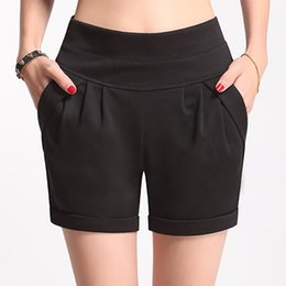 Flattering Clothes For Plus Size Australia - 2017 Summer Stretch Shorts Women Casual High Waist Shorts For Female Fat Plus Size Woman Clothing Beach Women's Cotton Shorts Y19050905