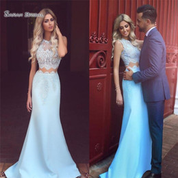 57973836f32 Navy materNity dresses online shopping - Prom Dresses Elegant Jewel Lace  Mermaid Evening Gowns Two Pieces