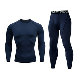 c5285a6310 Fitness Gym Tracksuit Bottoms Workout Sportswear for Men Dark Navy Round  Collar Long Sleeve Top T shirt Long Pants Bodybuilding Activewear