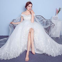 $enCountryForm.capitalKeyWord NZ - Stunning White A Line Wedding Dresses With Long Wrap Sparkling Sequin Beaded Off Shoulder floor Length custom Made Wedding dress 2019