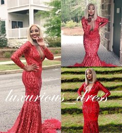 Red Mermaid Dresses Feathers Australia - Red Sequined Mermaid Prom Dress 2019 Sexy Black Girl Long Sleeve Feather Formal Party Gown Shinny Pageant Dresses Custom Made