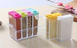 Free Kitchen Items Australia - free shipping Manufacturers wholesale creative kitchen household items seasoning box set plastic transparent seasoning box 6 grid jar