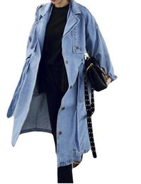Primavera Otoño Mujeres Casual Suelto X-Long Denim Trench Coat Overol de mezclilla femenina Tallas grandes Ajustable Cintura Denim Coat on Sale