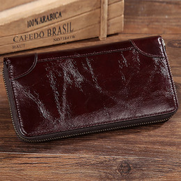 Oil Wax Cowhide Coin Purse Clutch Hand Bags Solid Pocket Card Holder Zipper  Bifold Vintage Male Genuine Leather Men Long Wallet 9fd3a3abab