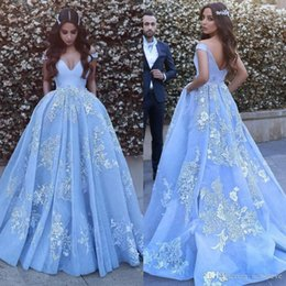 $enCountryForm.capitalKeyWord Australia - 2019 Light Sky Blue Ball Gown Evening Dresses Long Off Shoulder Appliques Lace Tulle Organza Sexy Backless Formal Party Prom Dresses