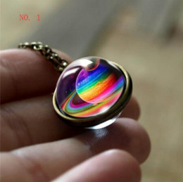 $enCountryForm.capitalKeyWord Australia - Galaxy Double Sided Pendant Necklace Glass Art Picture Handmade Statement Universe Planet Jewelry Necklace