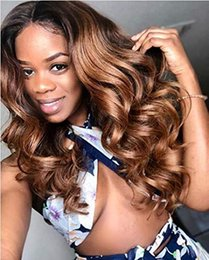 Color Lace Wig NZ - 13x6 Lace Front Wig Virgin Human Hair Pre Plucked Natural Hairline 130% Density Ombre Color 13x6 Lace Frontal Wigs For Women Wavy Wig