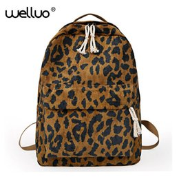 $enCountryForm.capitalKeyWord NZ - Fashion Female Backpack Leopard Print Corduroy Dual-straps Woman Travel Backpack Large Capacity Girl School Shoulder Bag Xa587wb Y19051405