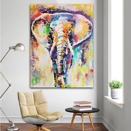 Elephant Canvas Prints Australia - Colorful Elephant 100% Handpainted & HD Print Modern Abstract Animal Art Oil Painting On Canvas Wall Art Home Decor High Quality a73